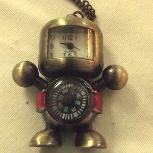 Jewelry - Cute Bronze Tone Robot Watch  & Compass Brass